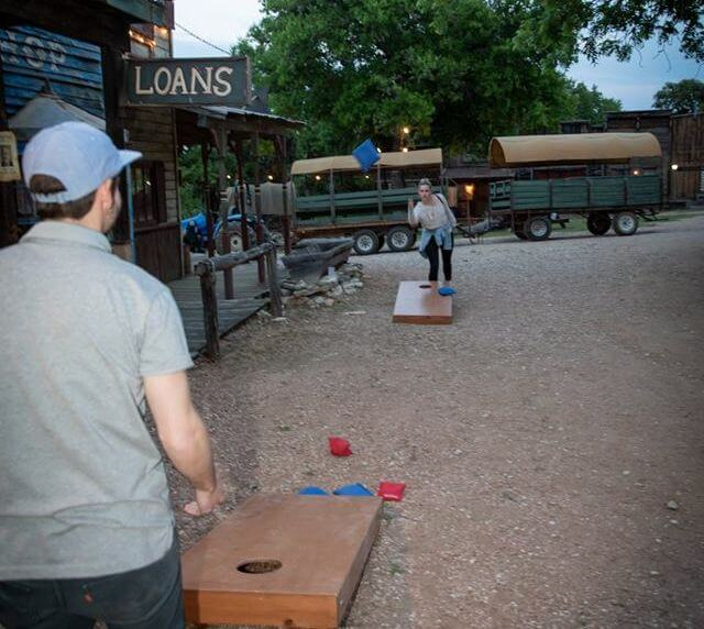 Guests playing corn hole