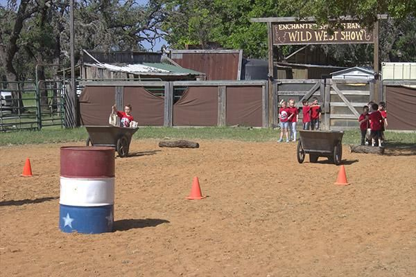 Relay racing during San Antonio field trips at the ranch!
