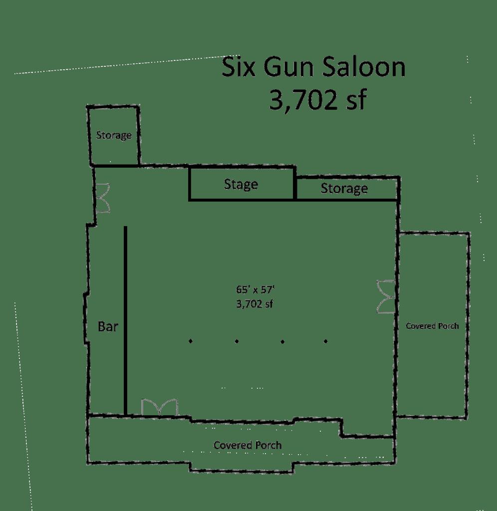 Floorplan for the Six Gun Saloon Private Venue Space