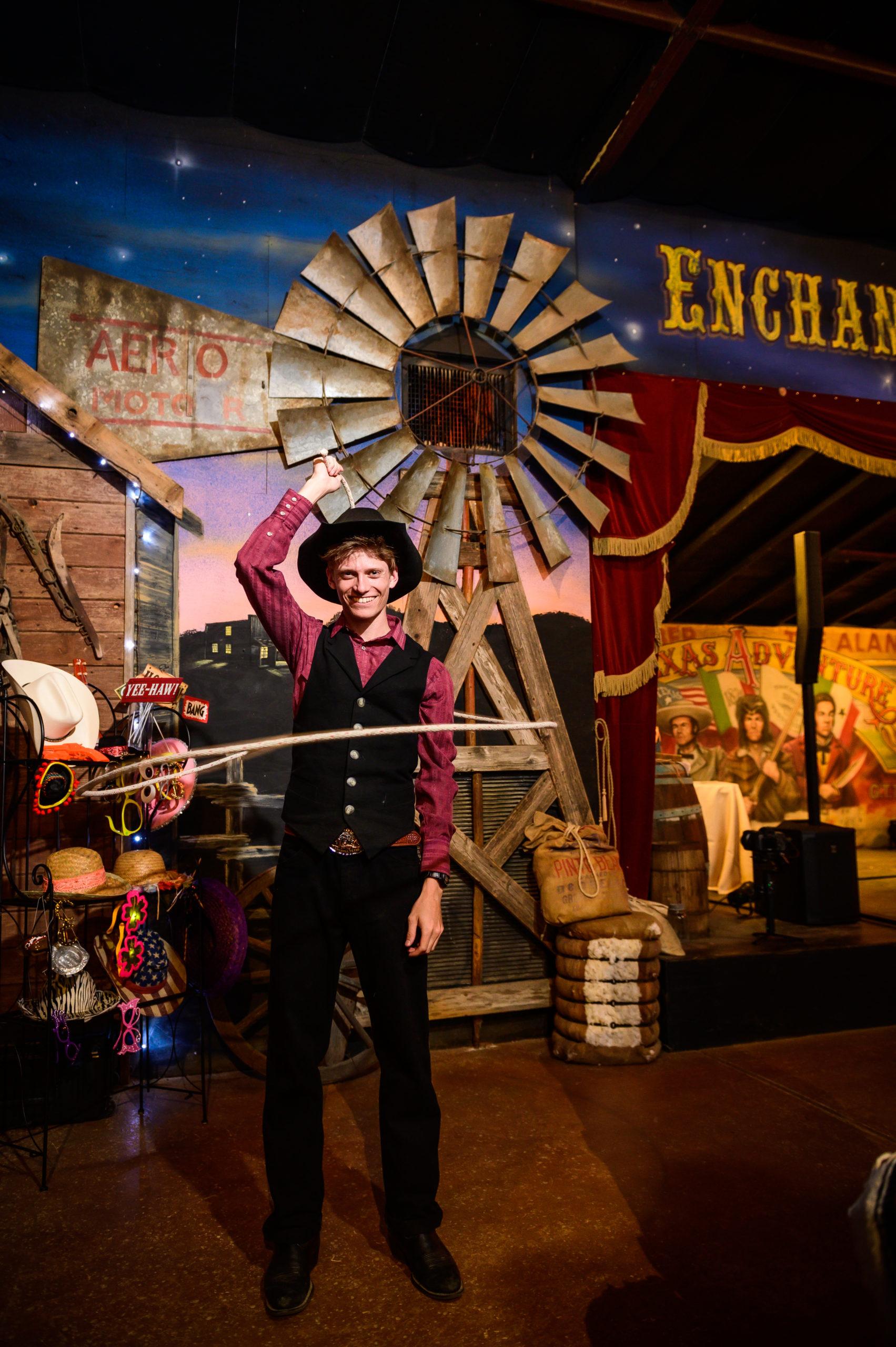Trick Roper performing at Enchanted Springs Ranch